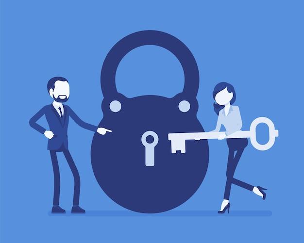 Fechadura e chave, solução de problemas de negócios e metáfora de tomada de decisão