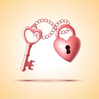 Fechadura em forma de coração com chave