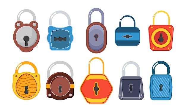 Fechaduras abertas e fechadas. uma coleção de cadeados dourados de várias formas e condições. cadeado dourado aberto, desbloqueado e bloqueado para proteção e segurança. estilo simples.