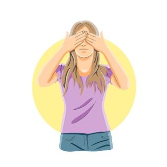 Fechando os olhos com as mãos, não quero ver, conceito de olhos fechados