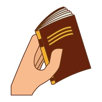 Fechar livro marrom na imagem da mão