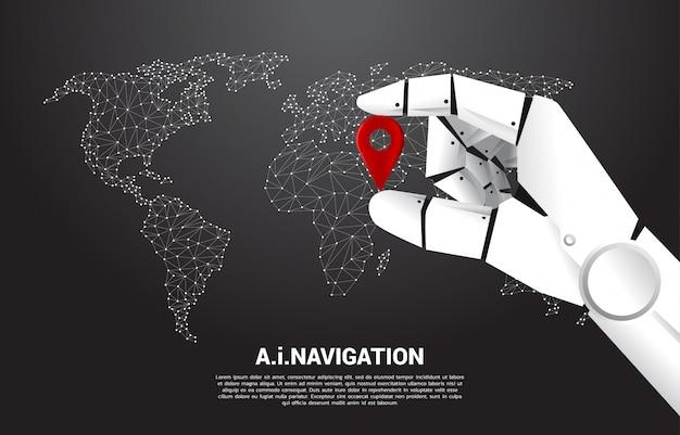 Feche a mão do marcador de pino de localização de espera de robô na frente do mapa do mundo. conceito de ai aprendendo máquina e sistema de navegação.