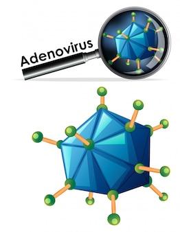 Feche acima do objeto isolado do vírus chamado adenovírus