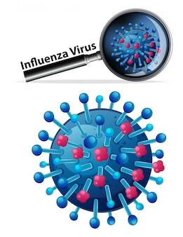 Feche acima do objeto isolado do vírus chamado vírus influenza