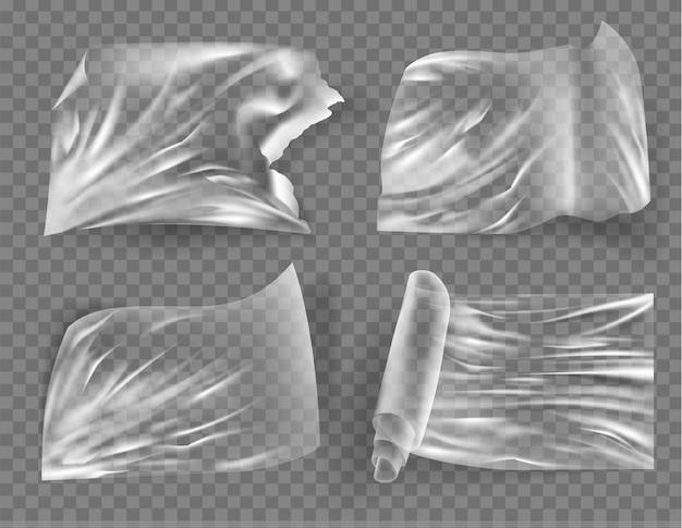 Feche acima em um saco plástico transparente de celofane no fundo branco. a textura parece em branco e brilhante.