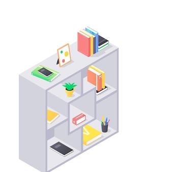 Feche em prateleiras modernas com livros de ilustração isométrica