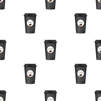 Feche o café para viagem com padrão de tampa marrom. isolado em um fundo branco. ilustração vetorial.