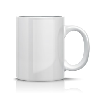 Feche o copo branco clássico de vetor para. isolado no branco.