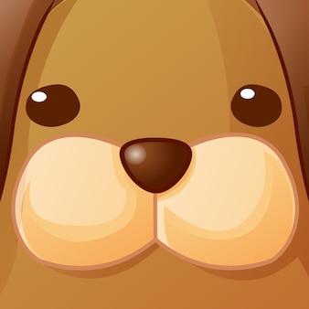 Feche o rosto do cão.