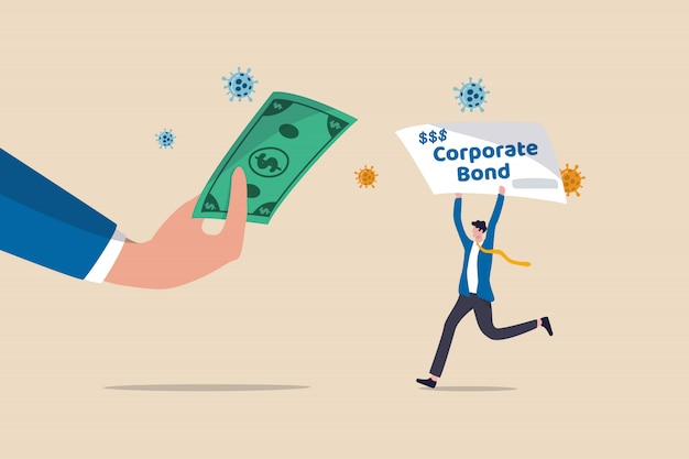 Federal reserve do fed comprando títulos corporativos para apoiar a liquidez após o conceito de crise econômica coronavirus covid-19, fed central do banco central segurando notas dos eua com empresário segurando títulos corporativos.
