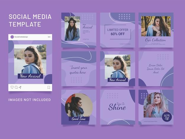 Feed de mídia social para mulheres da moda. quebra-cabeça de mídia social