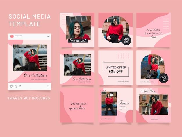 Feed de modelos de quebra-cabeça de moda feminina para mídia social