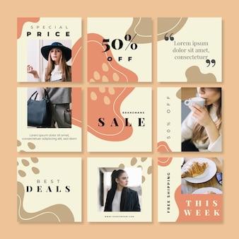 Feed de quebra-cabeça de vendas instagram com nove modelos