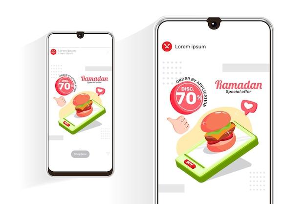 Feed de vendas de ramadã e histórias com hambúrguer de ilustração