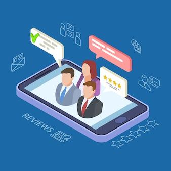 Feedback analisa a ilustração vetorial isométrica. conceito de feedback online com telefone, pessoas, balões de fala