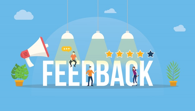 Feedback big word customer rating com equipe de pessoas