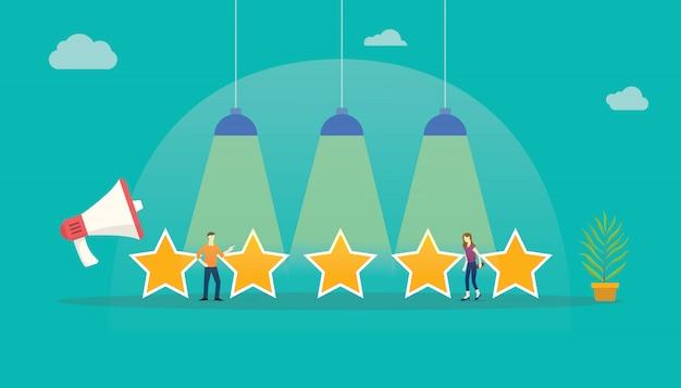 Feedback da estrela da avaliação de cliente