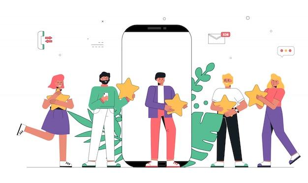 Feedback de aplicativo móvel, pessoas segurando cinco estrelas nas mãos.