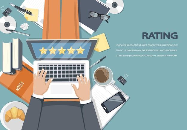 Feedback de classificação do site e ilustração de avaliação