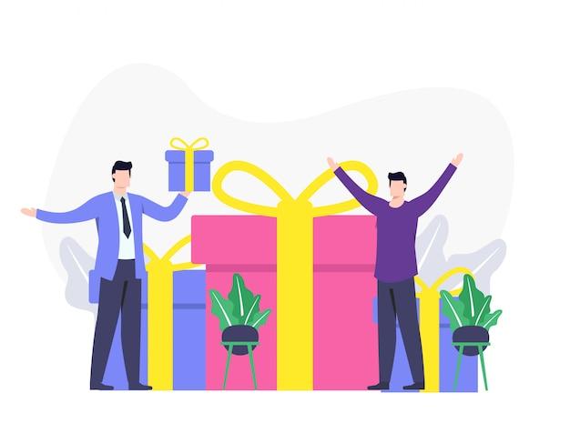 Feedback do cliente ou opiniões felizes de clientes e conceitos de recompensas.
