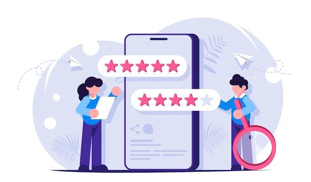 Feedback e comentários dos clientes. pontuação do usuário de cinco estrelas para aplicativo móvel. a mulher exprime o resultado do estudo. homem com uma lupa.