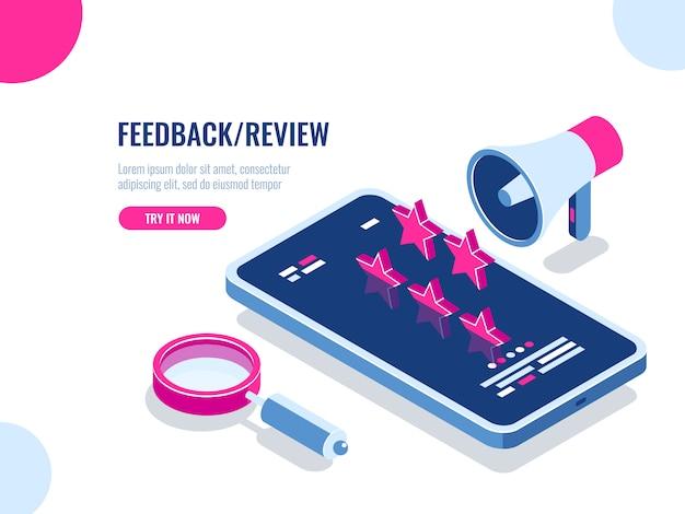 Feedback e revisão sobre aplicativo móvel, mensagem de recomendação, reputação na internet