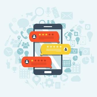 Feedback, mensagens de depoimento e conceito de notificações