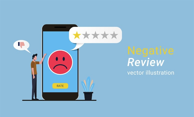 Feedback negativo ou revisão do conceito online, avaliação do serviço ao cliente