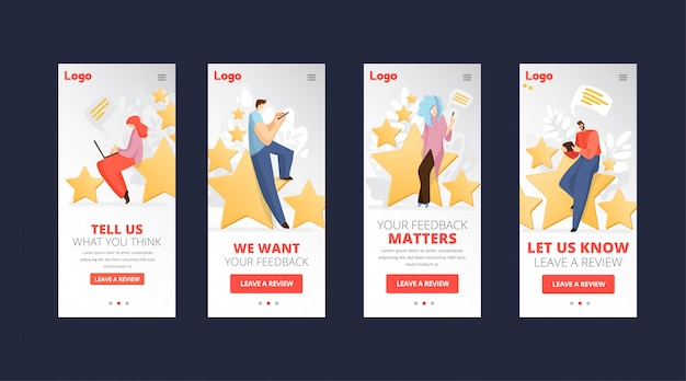 Feedback, pesquisa conceito de app plana com pessoas, homem e mulher sentados em grandes estrelas de classificação, escrevendo críticas e fazendo comentários sobre serviço ou produto. avaliação e depoimento