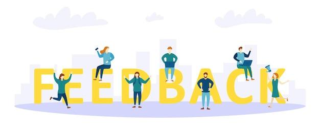 Feedback pessoas. ilustração do conceito de feedback.