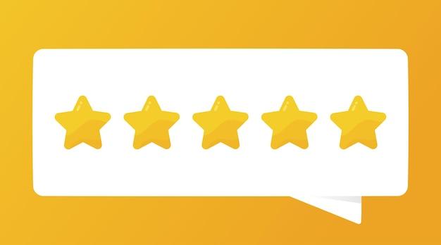 Feedback positivo classificação de qualidade de cinco estrelas