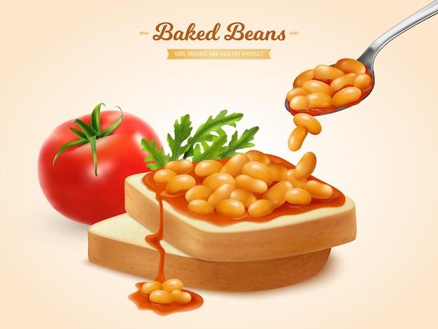 Feijão coberto com molho de tomate em fatias de pão ilustração realista