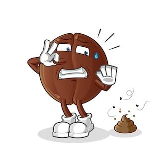 Feijão de café com ilustração de resíduos fedorentos. personagem