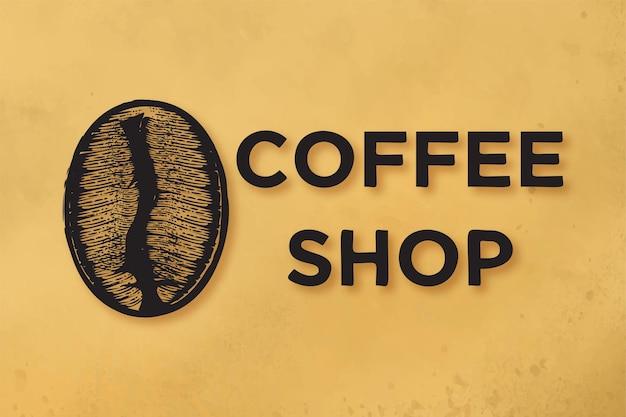 Feijão de café desenhado à mão, logotipo da cafeteria designs inspiration