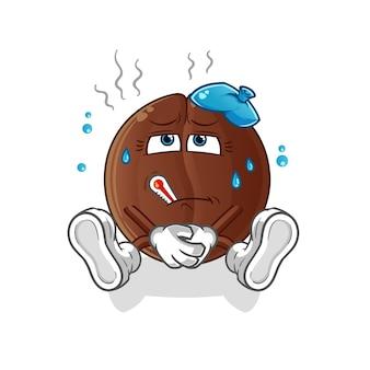 Feijão de café doente. personagem de desenho animado
