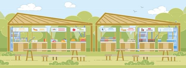 Feira de alimentos, mercado de produção para agricultores locais.