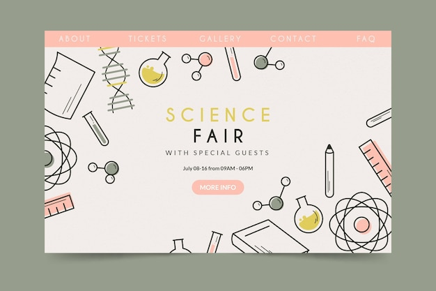 Feira de ciências da página de destino