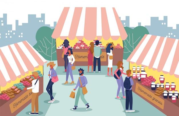 Feira de comida caseira e pessoas personagens dos desenhos animados