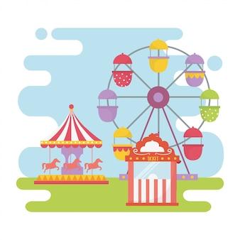 Feira de diversões carnaval carrossel roda gigante bilhete cabine recreação entretenimento