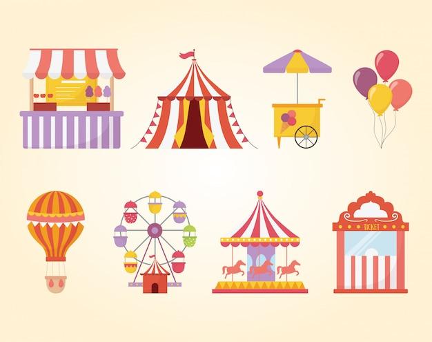Feira de diversões carnaval recreação comida barraca carrossel sorvete sorvete balão