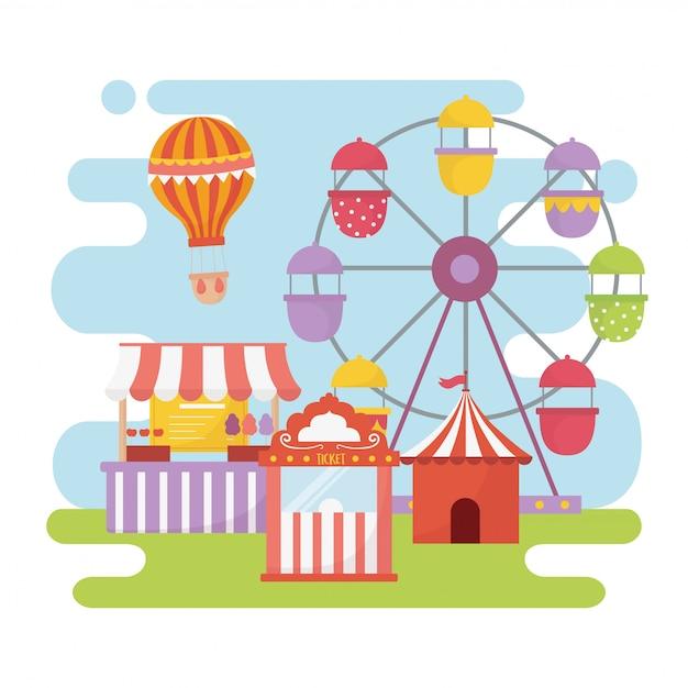 Feira de diversões carnaval roda gigante cabine bilhete comida recreação entretenimento