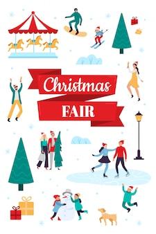 Feira de natal. cartaz de férias de inverno, festival de neve e ilustração vetorial de celebração de natal