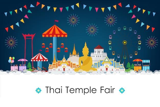 Feira do templo tailandês à noite