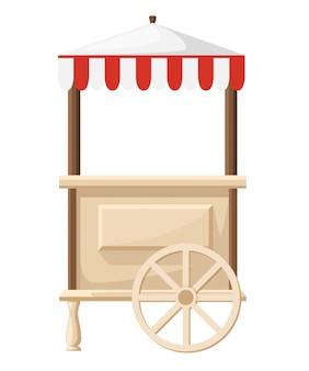Feira e mercado de comida de rua e quiosques de loja, pequenos estandes temporários para vendedores página do site e aplicativo móvel de ilustrações de desenhos animados.