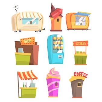 Feira e mercado de comida de rua e quiosques de lojas