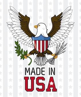 Feita no falcão de águia eua com design gráfico de ilustração vetorial de escudo