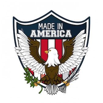 Feita no falcão de águia eua no design gráfico de ilustração vetorial de escudo