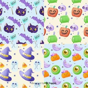 Feitiçaria em aquarela coleção de padrão de halloween