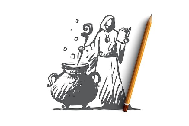 Feiticeiro desenhado à mão preparando um esboço do conceito de poção