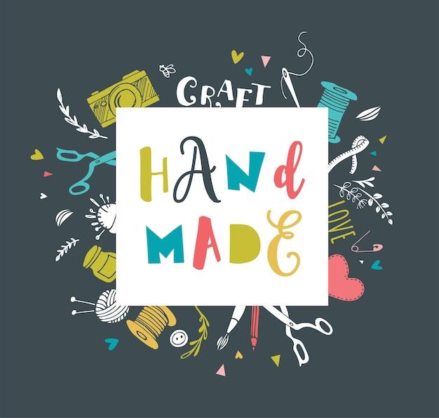 Feito à mão, oficina de artesanato, feira de arte e pôster do festival